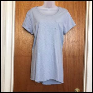 Gray Hi Lo Hem Tunic Length Cotton  T Shirt